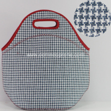 Newly Gingham Waterproof Neoprene Tote Lunch Bags