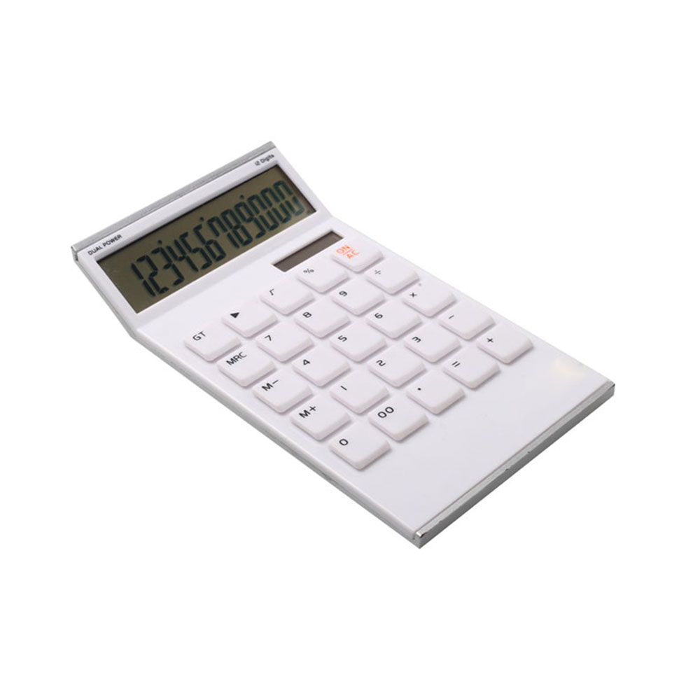 Dual Power 12 Digit Super Thin Shape Office Desk Calculator