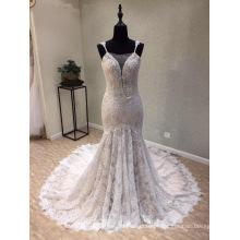 Moda Lace Beading Sereia Evening Prom Vestido De Noiva Vestido De Noiva