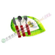 Red / Purple Silicone Kitchen Utensils Knife Fork And Spoon Set For Children