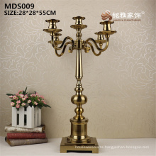 Popular plating gold color deluxe metal lantern candlestick metal candle holder