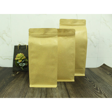 250g flat bottom kraft paper bag with middle zipper