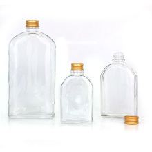 Hot selling flat clear 250ml cold brew coffee glass bottles with aluminum screw cap