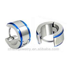 Wholesale huggie earrings Blue edges Surgical steel Men's Earring HE-028