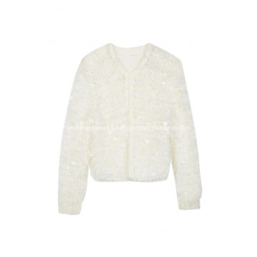 Women's Knitted Sequins Crochet Chunky Cardigan