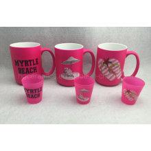 Tasse de couleur néon 15oz, tasse de couleur rose