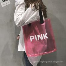 Custom lovely pink beach waterproof pvc bag