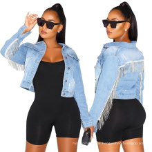 Loose Fit Casual Style Women Basic Coat Vintage Slim Fit Denim Coat Fashion Female Patchwork Denim Jacket