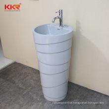Grey solid surface resin stone freestanding washbasin