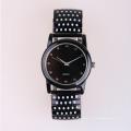Relógios de quartzo quartzo relógio preto, relógios de aço inoxidável e elástico