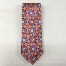 Les hommes floraux en gros orange ont annoncé le tissu 100% de soie de costume pour la cravate
