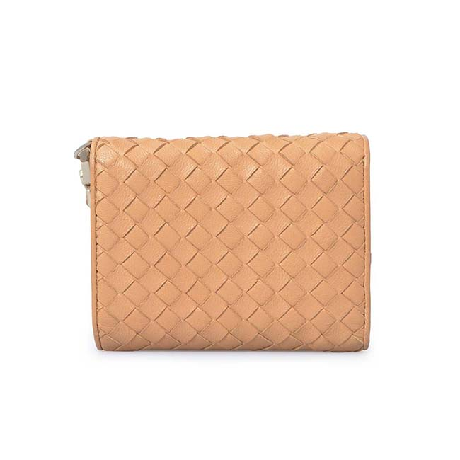 Fashion genuine leather weave long wallet for women