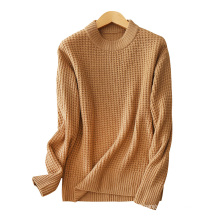 Women cashmere knitting sweater vintage style sweater O neck thick loose pullover sweater for winter