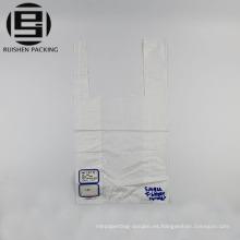 Bolsos plásticos del embalaje de la camiseta del color blanco de encargo