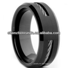 2014 Weltcup-Ring-Männer überzogener schwarzer Einlegearbeit-Ring-Ring-Schmucksache-Wolframring 8mm Porzellanhersteller