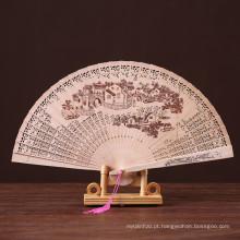 desenhos chineses personalizados ventilador de mão de madeira