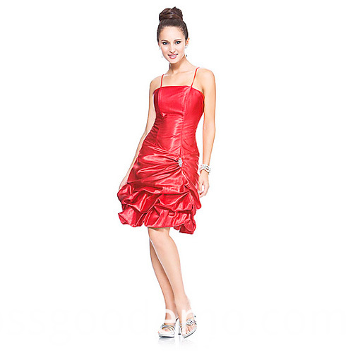 Ball Gown Spaghetti Straps Knee Length Taffeta Ruffled Cocktail Dress