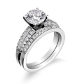 Engagement Ring with Wedding Band in 925 Sterling Silver Jewelry