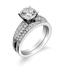 Bague de fiançailles avec bande de mariage en bijoux en argent sterling 925