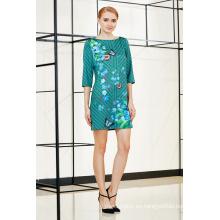 Nuevo vestido de moda de moda de tres cuartos Quater Sleeve Place Shift Dress en estampado de flores