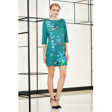 New Trendy Fashionable Three Quater Sleeve Placement Shift Dress in Floral Pattern
