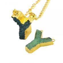 Красочные кристалл алфавита буква Y кулон ожерелье