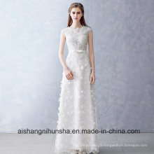 Lace Flower Wedding Dress Beading Sleeveless Long Custom Made
