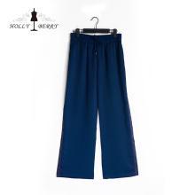 Casual mulheres azuis leves soltas calças perna larga