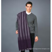 Echarpe 100% en laine pour hommes en écharpe en laine jacquard en couleur pleine