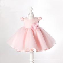 Rosa Organzaball-Blumen-Baby-kleines Mädchen-Kleider Qh66233