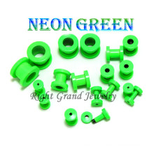 2014 nouveau néon vert anodisé vis personnalisé oreille Tunnel de chair