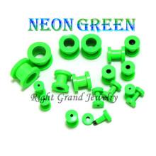 2014 Novo Neon Verde Anodizado Parafuso Personalizado Flesh Túnel Da Carne