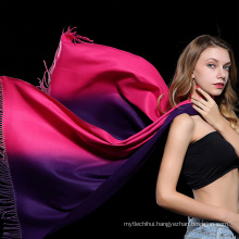 Fashion printed gradient ramp women oversize fake cashmere winer shawl tassels lady soft pashmina scarf