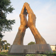 decoração de jardim ao ar livre bronze metal artesanato mão aberta esculturas
