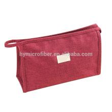 Saco cosmético de lona de alta qualidade por atacado com zíper