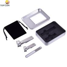 Tosquiadeira de unhas de aço inoxidável, conjunto de cortador de unha de unha, girar 360 graus, com bolsa portátil