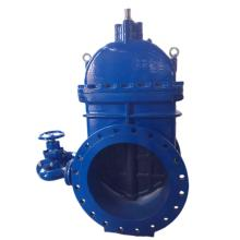Large diameter gate valve with by-pass valve