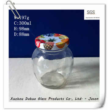 300ml Round Shape Glass Sauce Jar with Tin Lid