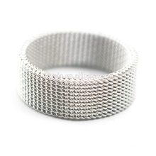 Fashion Wedding Band Stainless Steel Mesh Ring
