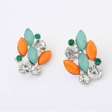 luxury elegant resin stone clear crystals big fashion stud earrings 2014 Hot Sell Vintage Earings Accessories