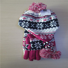 women's Jacquard fashion winter knitted scarf hat glove sets  100%  acrylic