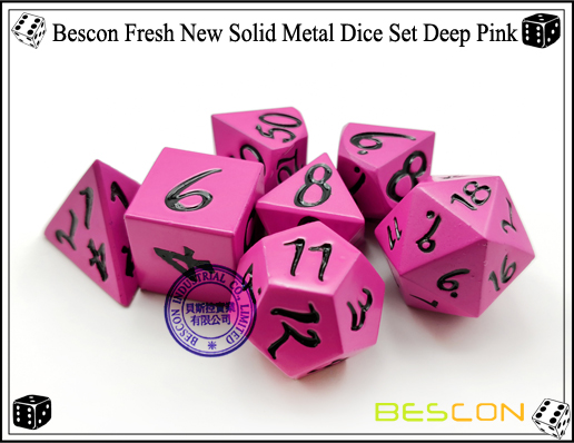 Bescon Fresh New Solid Metal Dice Set Deep Pink-6