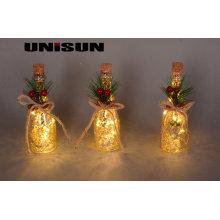 Decoração de Natal Artesanato de vidro claro com corda de cobre LED Light for Wall Art (17010)