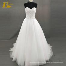 ED nupcial elegante sirena de encaje escote de encaje de espalda rebordeado vestido de novia de tul vestido de novia