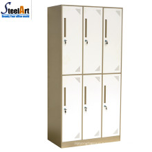 School used metal furniture student dormitory 6 door wardrobe