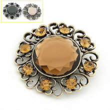 Latest Big Gemstone Brooch With CZ Disco Ball BH08