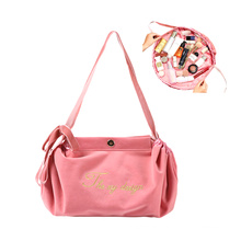 Trendy Ladies Drawstring Cosmetic Bag Portable Travel Makeup Storage Bag Women Velvet Purse Handbags