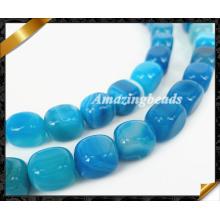 Perles Whoesale à l'agate à rayures bleues (AG021)