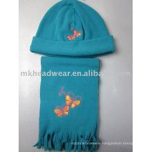 fashional fleece hat&scarf for kids