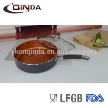 Revestimiento de cerámica de inducción cubierta de vidrio de silicio y SS mango sartén de saltear